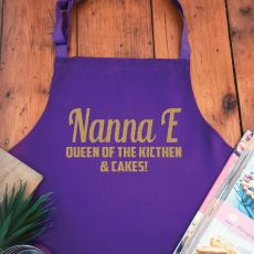 Nan Personalised  Apron with Pocket - Purple