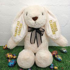 1st Easter Rabbit Bunny Plush Black Bow - 40cm Cream