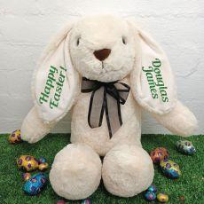 Easter Rabbit Bunny Plush Black Bow - 40cm Cream
