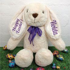 Easter Rabbit Bunny Plush Purple Bow - 40cm Cream
