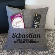 Personalised Grey Pocket Pillow Cover