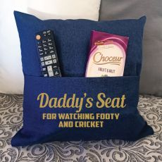Dad Personalised Navy Pocket Reading Pillow Cover