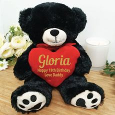 Personalised 18th Bear Black Plush with Heart