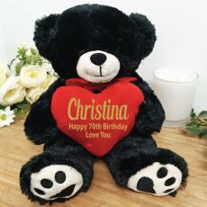 Personalised 70th Bear Black Plush with Heart
