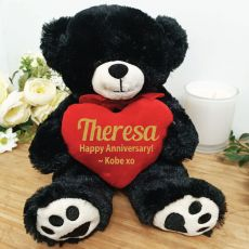 Personalised Anniversary Bear Black Plush with Heart