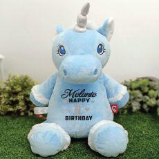 Personalised Birthday Blue Unicorn Cubbie Bear Plush