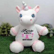 Personalised Birthday White Unicorn Cubbie Bear Plush