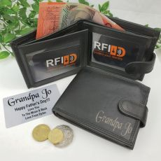 Grandpa Personalised Black Leather Wallet RFID