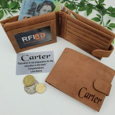 Graduation Personalised Cow Hide Leather Wallet RFID