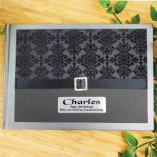 50th Birthday Guest Book Keepsake Album- Baroque Black