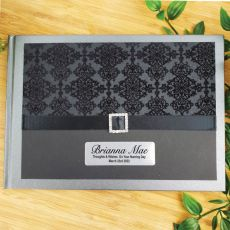 Personalised Naming Day Guest Book- Baroque Black