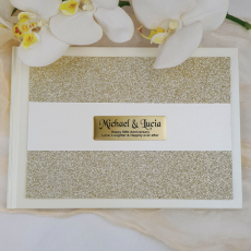 Anniversary Guest Book Album Gold Glitter Band