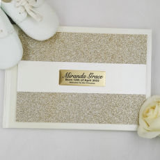 Baby Guest Book Album Gold Glitter Band