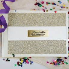 60th Birthday Guest Book Album Gold Glitter Band