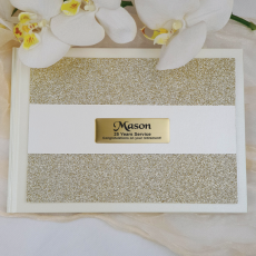 Retirement Guest Book Album Gold Glitter Band