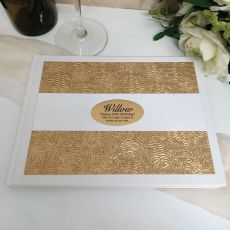 60th Birthday Guest Book Album Embossed Gold