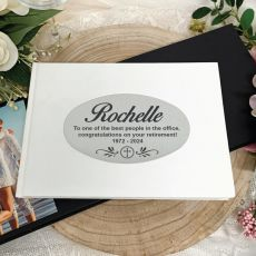 Personalised White Retirement Guest Book