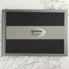 50th Birthday Personalised  Glitter Guest Book- Black
