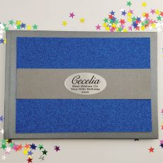 60th Birthday Personalised  Glitter Guest Book- Blue