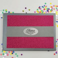 13th Birthday Personalised  Glitter Guest Book- Pink