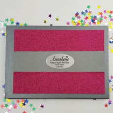 Birthday Personalised  Glitter Guest Book- Pink