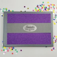 1st Birthday Personalised  Glitter Guest Book- Purple