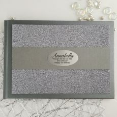 1st Birthday Personalised  Glitter Guest Book- Gunmetal