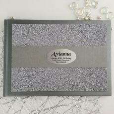 40th Birthday Personalised  Glitter Guest Book- Gunmetal