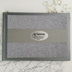 60th Birthday Personalised  Glitter Guest Book- Pewter