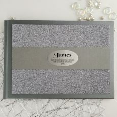 Graduation Personalised  Glitter Guest Book- Gunmetal