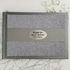 Memorial Funeral Personalised Glitter Guest Book- Gunmetal