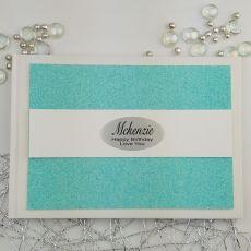 Personalised Birthday Guest Book- Aqua Glitter