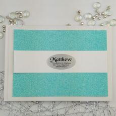 Personalised Baptism Guest Book- Aqua Glitter