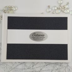 Personalised 50th Birthday Guest Book- Black Glitter