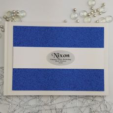 Personalised 50th Birthday Guest Book- Blue Glitter