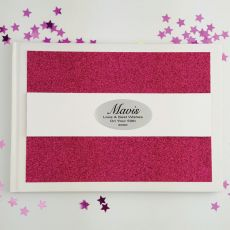 Personalised 50th Birthday Guest Book- Pink Glitter