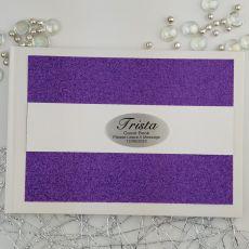 Personalised Birthday Guest Book- Purple Glitter