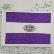 Personalised Baby Shower Guest Book- Purple Glitter