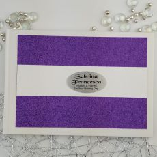 Personalised Naming Day Guest Book- Purple Glitter