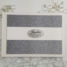 Personalised 1st Birthday Guest Book- Gunmetal Glitter