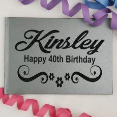 40th Birthday Guest Book Keepsake Album - A5 Grey