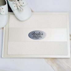 Baby Shower Guest Book Cream Glitter