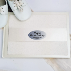 Naming Day Guest Book Album Cream Glitter Band
