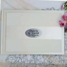 Wedding Guest Book Album Cream Glitter Band