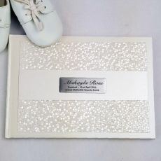 Baptism Guest Book Keepsake  Album - Cream Pebble