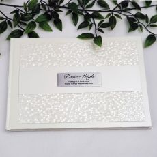 1st Birthday Guest Book  Keepsake Album- Cream Pebble