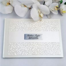 Personalised Birthday Guest Book- Cream Pebble