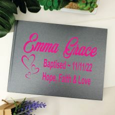 Baptism Guest Book Keepsake Album - Grey A5