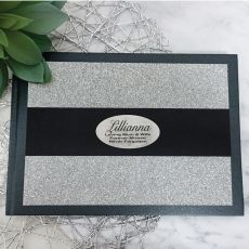 Memorial Guest Book Album Silver Glitter Band