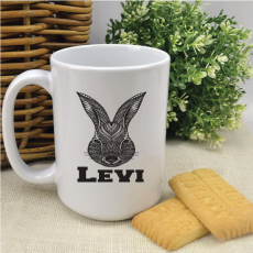 Personalised Easter Coffee Mug - Aztec Bunny